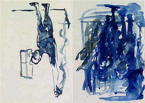 mann mit gestrecktem arm (double-sided drawing) by georg baselitz