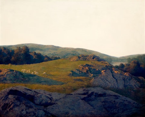 sheep pasture cornish new hampshire by maxfield parrish