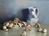 still life with mushrooms and a pitcher by firmin baes