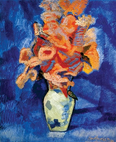 bouquet in pottery jar by albert houthuesen