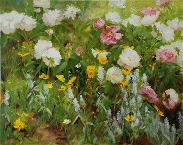 wildflowers with may peonies (sold) by kathy anderson
