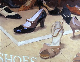shoe store window (sold) by vincent giarrano