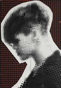 cold war painting #3 (black / orange grid) by johannes wohnseifer
