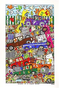 birds in a junk yard by james rizzi