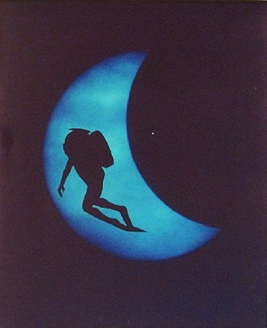diver on lunar eclipse by eve sonneman