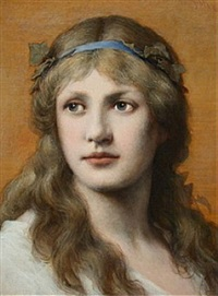 junge dame mit blauem stirnband by gabriel von max