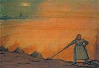 quemando el zacate en los campos de jena, alemania by diego rivera