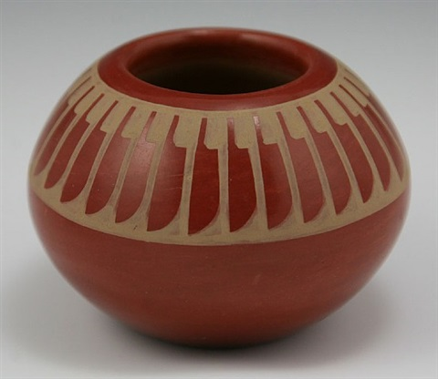 san ildefonso redware feather jar by maria martinez
