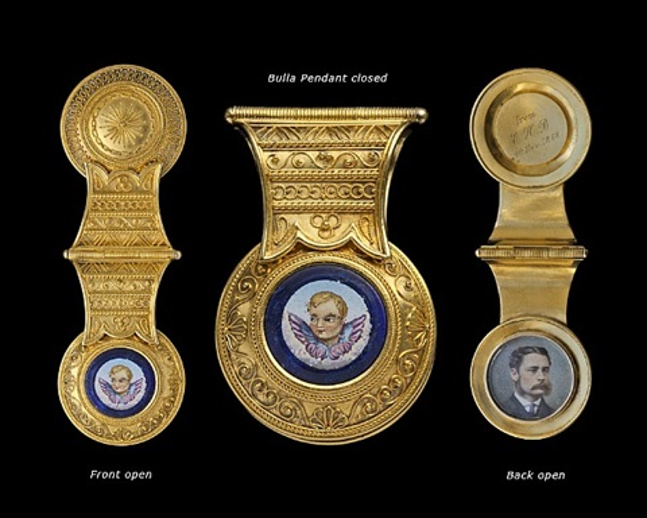 "archaeological revival ""bulla"" shaped pendant"