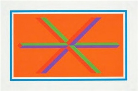 (blue border) isometric figures in five and six colors series by sol lewitt