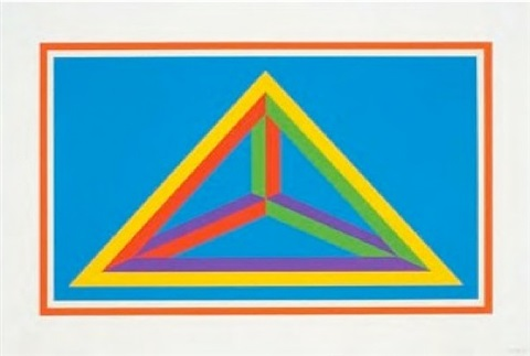 (red border) isometric figures in five and six colors series by sol lewitt