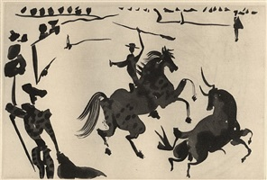 la tauromaquia – complete set - with 1 drypoint on the cover and 26 lift ground aquatints by pablo picasso