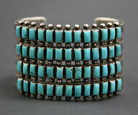 zuni four row turquoise and silver bracelet
