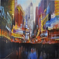 nyc, times square, bright lights (sold) by david allen dunlop