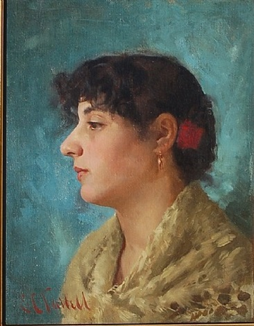 head of an italian model by edmund charles tarbell