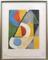 composition with blue circle by sonia delaunay-terk
