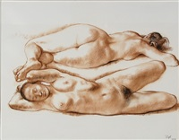 two reclining nudes by francisco zúñiga