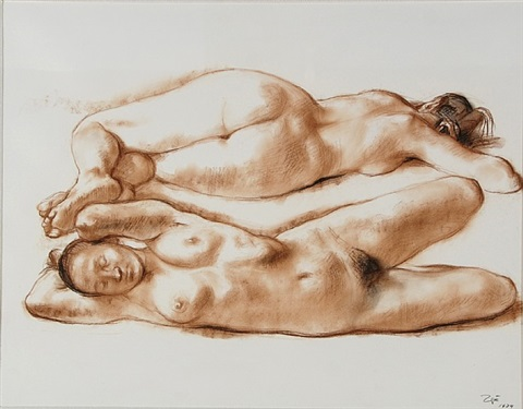 two reclining nudes by francisco zúñiga
