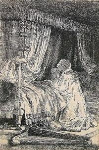 david in prayer by rembrandt van rijn