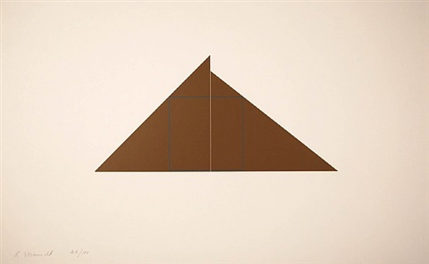blue square in 2 brown triangles by robert mangold