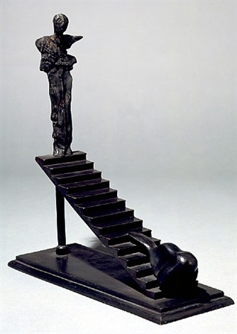 scala con naso e figurina by mimmo paladino