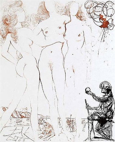 mythology suite: judgment of paris by salvador dalí