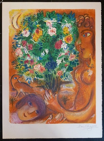 woman with bouquet / femme au bouquet by marc chagall