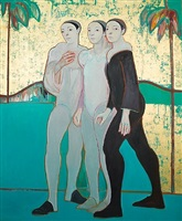 three figures in a gold landscape by selina trieff