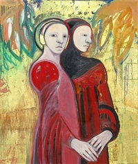 two women in red by selina trieff