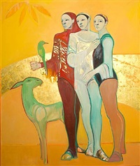 three figures with green goat by selina trieff