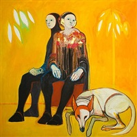 two figures with dog by selina trieff