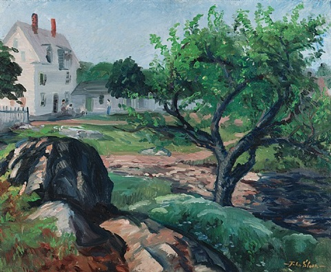 white house and apple tree by john french sloan