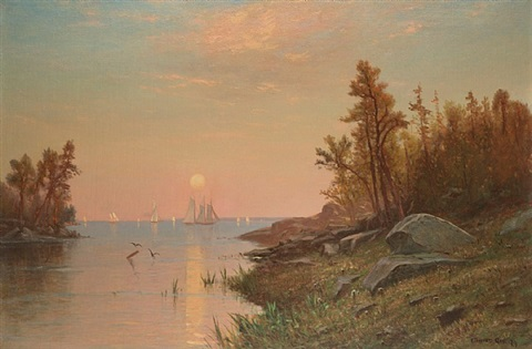 sunset from the inlet by edward b. gay