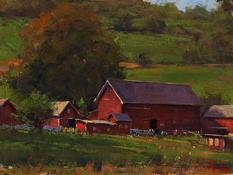 barns in early autumn by george van hook