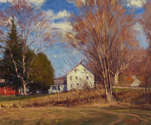 white house in autumn by george van hook