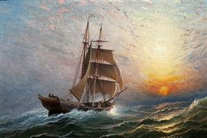 brigantine at sunset by charles henry gifford