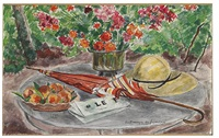 vase de fleurs, assiette de peches, ombrelle et le figaro by andré dunoyer de segonzac