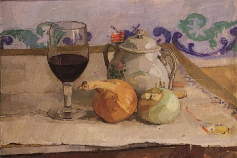 still life with onions and wine glass by euan uglow