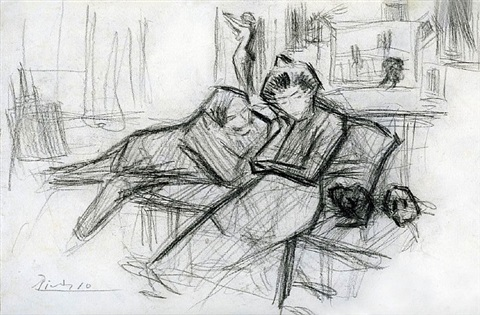 reclining couple, a double-sided drawing (with seated couple verso) by pablo picasso