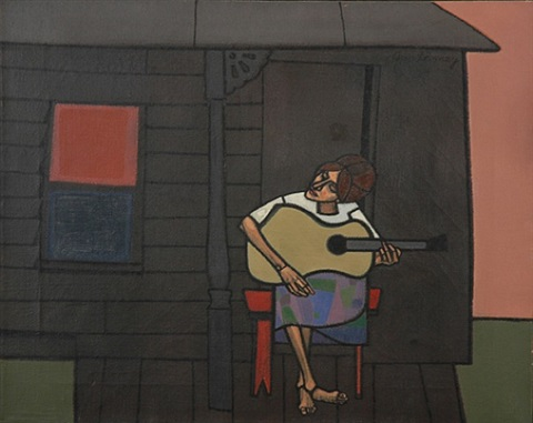 girl with guitar by robert gwathmey
