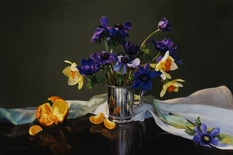 anenomes and narcissus (sold) by cora ogden