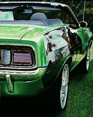 green hemi cuda by cheryl kelley