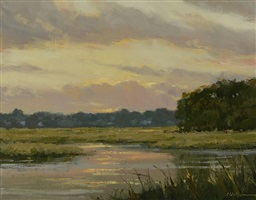 fence creek evening (sold) by carolyn walton