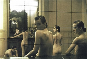 five girls in a room in pigalle, paris, vogue italia by deborah turbeville