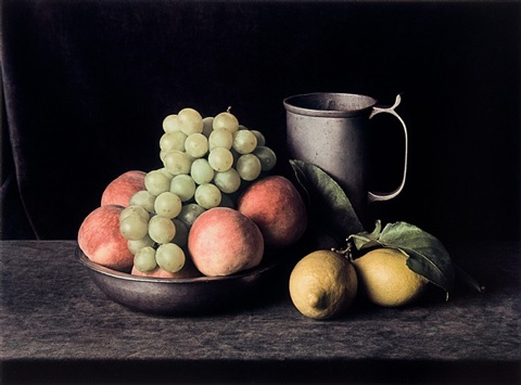pewter pitcher with grapes (still life no. 7) by evelyn hofer