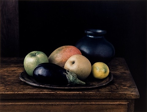 oaxaca jar with aubergine (still life no. 2), new york by evelyn hofer