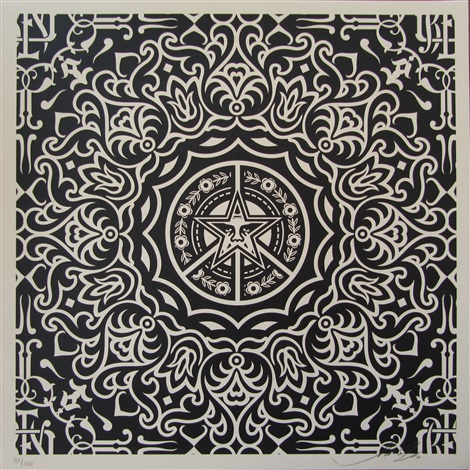 ornate pattern black by shepard fairey