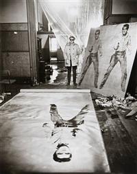 andy warhol (in his studio with elvis presley print), new york by evelyn hofer