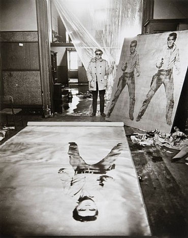 andy warhol (in his studio with elvis presley print), new york by evelyn hofer