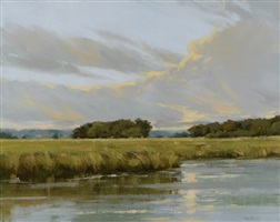 gilded clouds (east river marsh) by carolyn walton